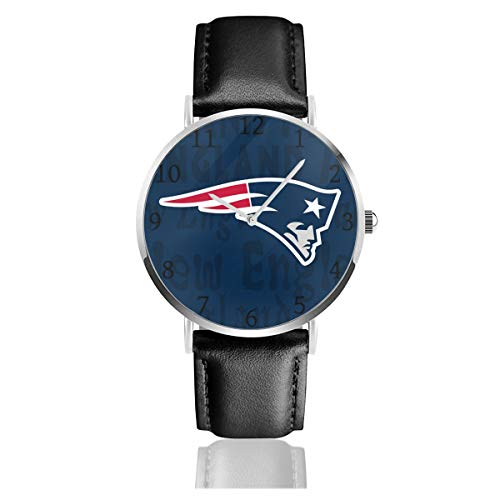 Gdcover Custom New England Patriots Unisex Casual Quartz Wrist Watches with PU Leather -
