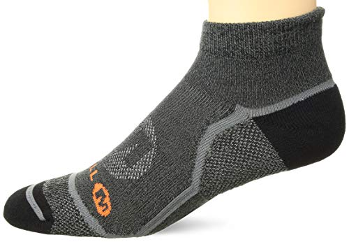 - Merrell Men's 1 Pack Cushioned Trail Glove Runner Socks (Low/Quarter/Crew Cut), Black Marl (Low), Shoe Size: 9.5-12