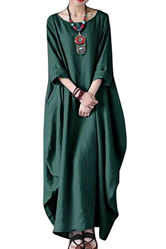 Et des t Robe Coton Robes yulinge lgant Lin Taille Maxi Larges Grande Green 5wUnq