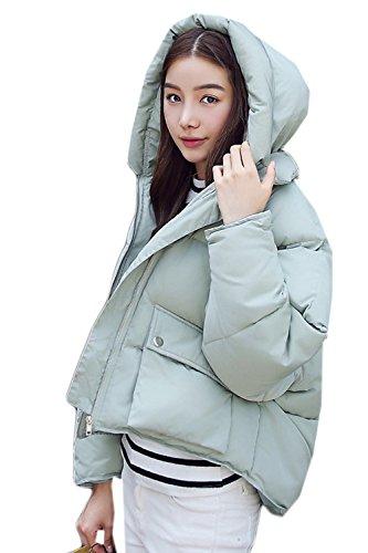 Zip La Mujer Parkas Corta Invierno Grueso Acolchado Outwear Caliente Casual Verde Hoodie wTw6xapq