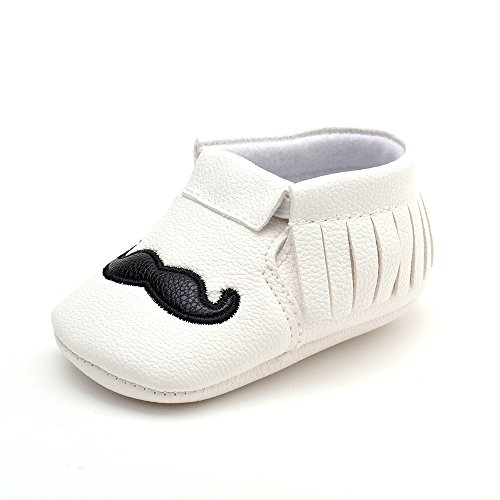 ESTAMICO Baby Kunstleder Designer Mokassin 3-18 Monate Weiß