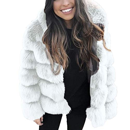 JOFOW Womens Faux Fur Jacket Winter Solid Hooded Coat Warm Padded Fuzzy Chunky Parkas White Black Thick Cardigan (XL,White) -