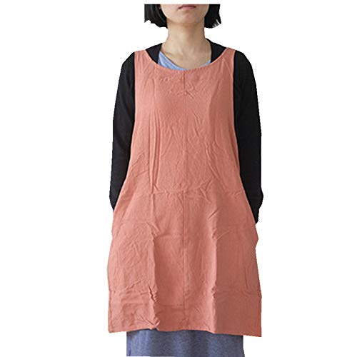 Soft Cotton Linen Apron Solid Color Halter Cross Bandage Aprons Japanese Style X Shape Double Pockets Kitchen Cooking Clothes Gift for Women Chef Housewarming --OrangeRed]()