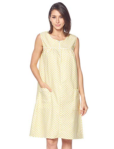 (Casual Nights Women's Zipper Front House Dress Duster Sleeveless Housecoat Lounger Robe, Polka Dots Yellow, Small)