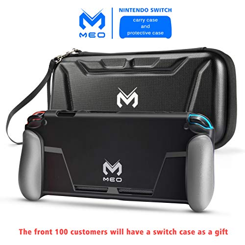 MEO Carrying Case and Protective Case Compatible with Nintendo Switch - All Protective Hard Shell Storage Stand Waterproof Travel Carry Case Bag for Nintendo Switch Console & Accessories (Black)
