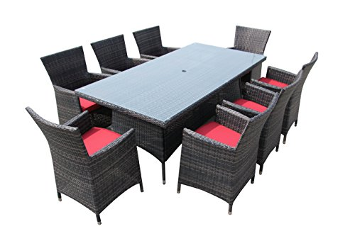 8 Seater Patio Set Outdoor Dining Set Backyard Dining Table Set Red (Rattan 8 Seater Garden Furniture)