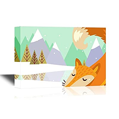 Canvas Wall Art - Cartoon Fox in Winter Forest - Gallery Wrap Modern Home Art | Ready to Hang - 12x18 inches