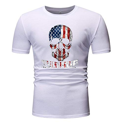 USA litary American Skull Flag Patriotic Men's T Shirt Short Sve Slim Fit O-Neck Tees Tops Blouses