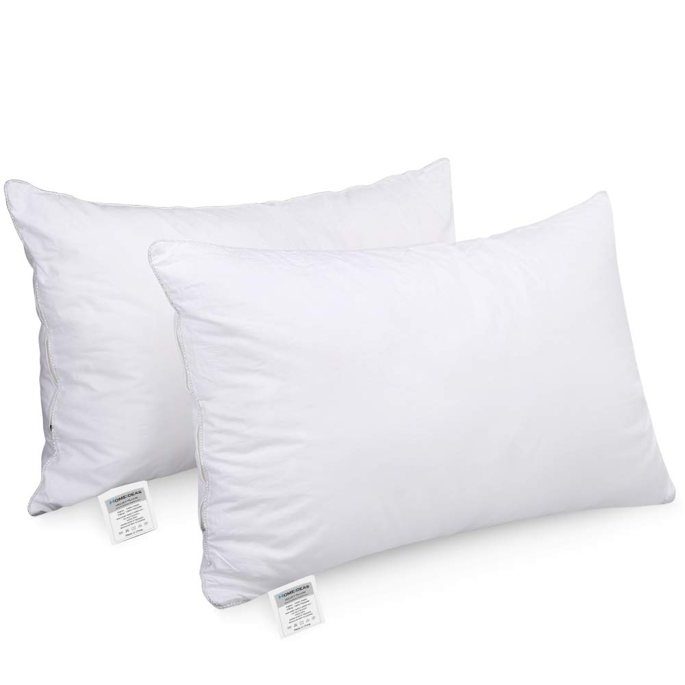 HOMEIDEAS Goose Down Alternative Bed Pillows for Sleeping - Super Soft Plush Fiber Fill, Dust Mite Resistant & Hypoallergenic, No Flat! (2 Pack King Size)