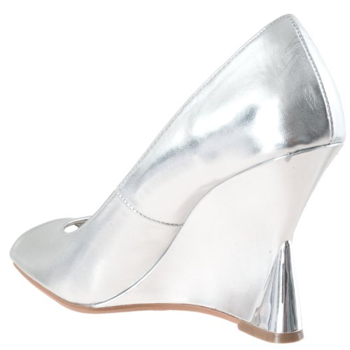 Bamboo Womens Naya Wedge Heel Peep Toe Shoes Silver H5fbidhwfU
