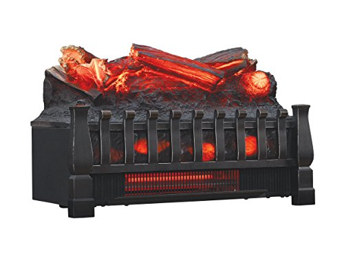 Duraflame Electric DFI030ARU Infrared Quartz Set Heater with Realistic Ember Bed and Logs, Black (Black Electric Fireplace Heater)