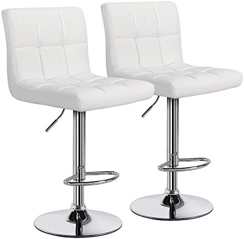 YAHEETECH White Bar Stools Set of 2 Adjustable PU Leather Swivel Bar Chair Kitchen Counter Bar Height Stools with Back, Bigger and More Stable Base