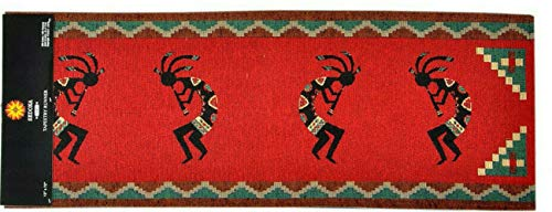 You&Meshop Wall Hanging Kokopelli Tapestry Table Runner Red Black 13 x 72 Southwest Western