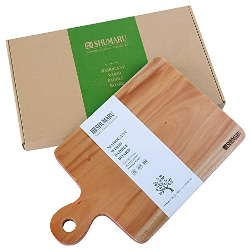 MAHOGANY Extra Wide Wood Cutting Board with Handle (Gift Box Included) | 16.7x10.2x0.9