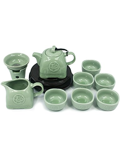Dahlia Embossed Dragon Ice Crack Celadon Porcelain 9-pcs Gongfu Tea Gift Set in Gift Box