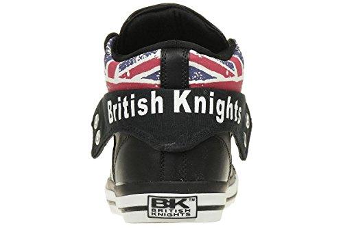 British Knights Men's Roco Hi-Top Trainers, Black, 11 UK Textile Black/Union Jack