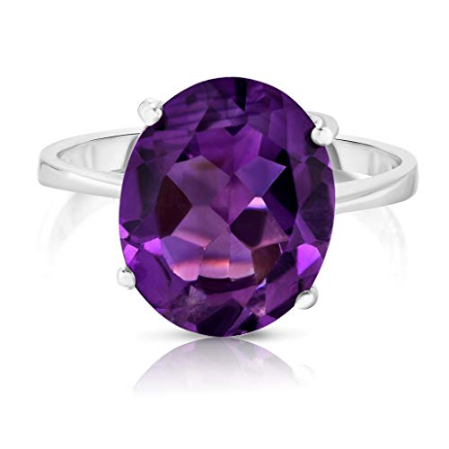 - Verona Jewlers Sterling Silver Genuine Gemstone Solitaire Oval Ring for Women- Gemstone Rings Available in and Sizes (8, Amethyst)