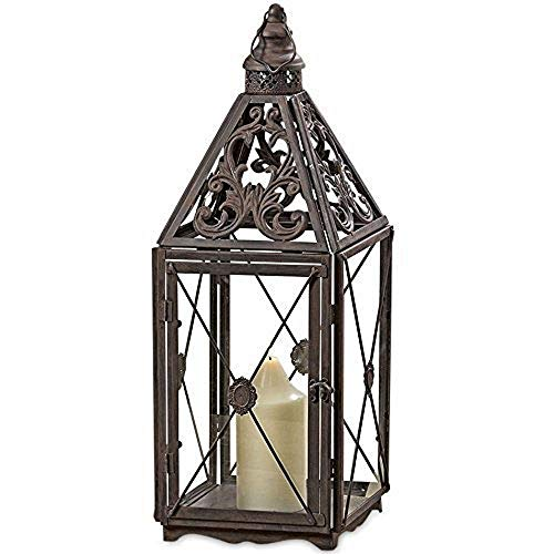 Whole House Worlds The French Country Style Hurricane Candle Lantern, Tempered Glass, Detailed Chateaux Roof, Cross Post Panel, Loop Hanger, Sturdy Rustic Iron, Over 2 1/2 Ft Tall, By