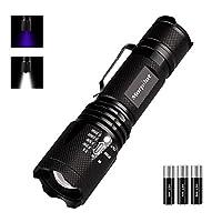 Morpilot 2 in 1 UV Flashlight LED Tactical Flashlight Handheld Black Light Flashlight with 3 AAA Batteries,Ultraviolet Urine Detector for Spot Carpet Pet Urine Stain Catch Scorpions