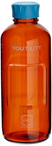 DURAN Youtility Bottle, Amber, GL 45, Cyan Screw-Cap/Pour Ring (PP), 1000 ml
