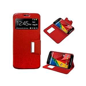 Funda Cuero Piel Roja para Samsung Galaxy S5 Mini / g800 Rojo con Soporte e Identificador de Llamada