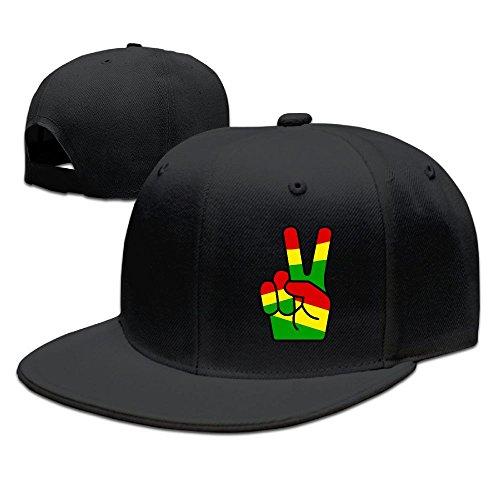 (NGG-333 Rasta Peace Fingers Unisex Adjustable Flat Brim Baseball Cap Hip Hop Hat)