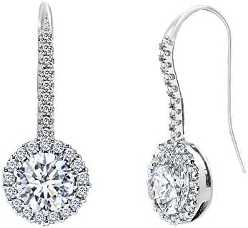 18K White Gold Over Sterling Silver Cubic Zirconia Dangling Round Cubic Zirconia Hook Back Earring