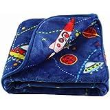 LittleBees Newborn Toddler Soft Quality Baby Blanket (Blue Rocket Ship)