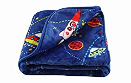 LittleBees Newborn Toddler Soft Quality Baby Blanket (Single Layer, Blue Rocket)