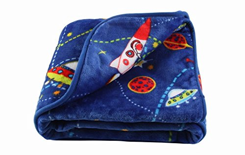 LittleBees Newborn Toddler Soft Quality Baby Blanket (Single Layer, Blue Rocket)