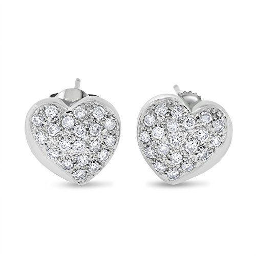 0.70 CT Natural Diamond Heart Pillow Fancy Earrings in Solid 14k White Gold ()