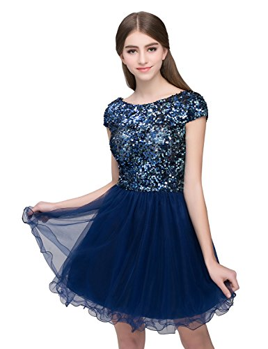 Clearbridal Junior's Short Tulle Sequined Homecoming Dress Prom Party Gowns (Teen Homecoming Dresses)