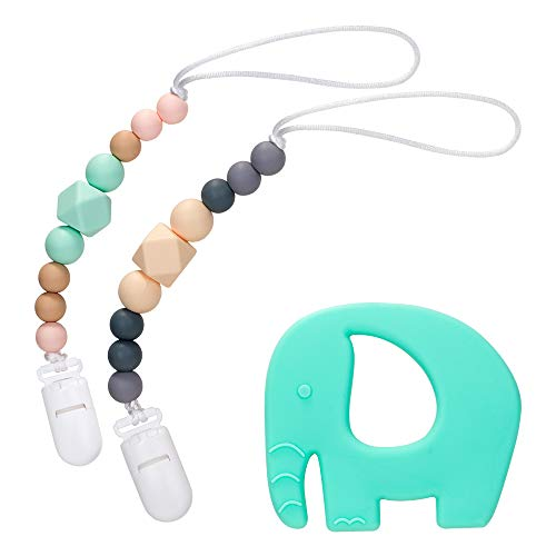 Nasjac Silicone Pacifier Clip, 2 Pack Unisex Modern Designs Beads Teether Holder Set & BPA Free Silicone Elephant Baby Teething Toys, Fit for Newborn Toddler Chewing, Soothie/MAM, Baby Shower Gift