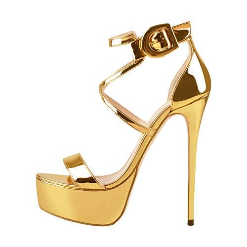(Onlymaker Women's High Heel Sandals Open Toe Platform Stiletto Ankle Crisscross Strap Buckle Snap Dress Party Heeled 2019 Size 12 Gold )