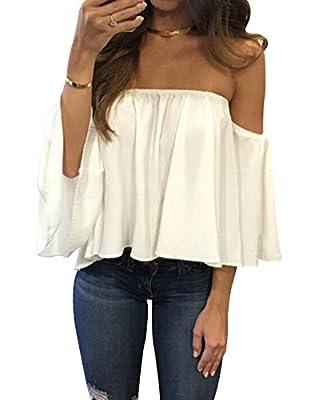 Women'S Summer Off Shoulder Chiffon Blouses Short Sleeves Sexy Tops Shirt F.