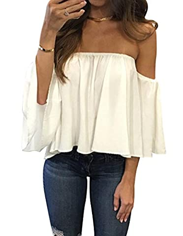Women's Summer Off Shoulder Chiffon Blouses Short Sleeves Sexy Tops Shirt Fashion Casual Ruffles Solid Loose Fit Blouses T Shirt (XL, - Beauty White T-shirt