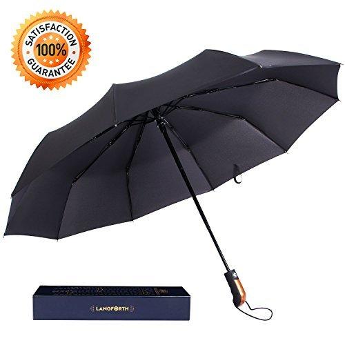 Langforth Winddicht Regenschirm Taschenschirm Konpakt Automatischer Reise Regenschirm Sturmfest mit Auf-Zu-Automatik Golfschirm Groß Schwarz Getestet 55Mph