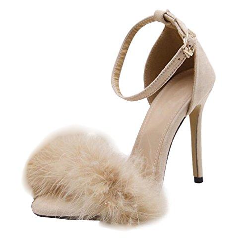 Juleya Women Summer Sandals Ladies Kitten High Heel Sandals Feather Adorn Buckle Ankle High Heels Open Toe Shoes Beige