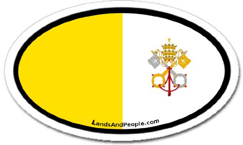 (Vatican Roman Catholic Flag Car Bumper Sticker Decal Oval)