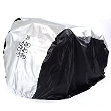HapWay Polymer Fabric Weatherproof Rainproof Waterproof Outdoor Double Dual Two Bike Cover for Two Bike or Three Bikes- Suits Mountain Road, Electric and Cruiser Bikes (Black with Silver Top)