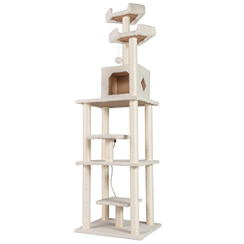 GOOD LIFE Super Large Model 78″ Cat Tree Pet House Kitty Condo Furniture Tall Cats Climbing Tower Club for Middle to Large Cats White Color PET268 For Sale