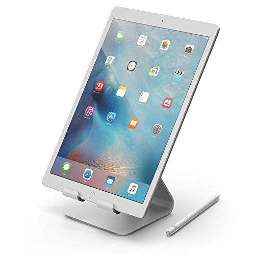 iPad Pro, elago P4 Stand - [Premium Aluminum][Cable Management][Perfect Angle] - for iPad Pro, iPad air, iPad, iPad Mini & Tablet PC (Silver)