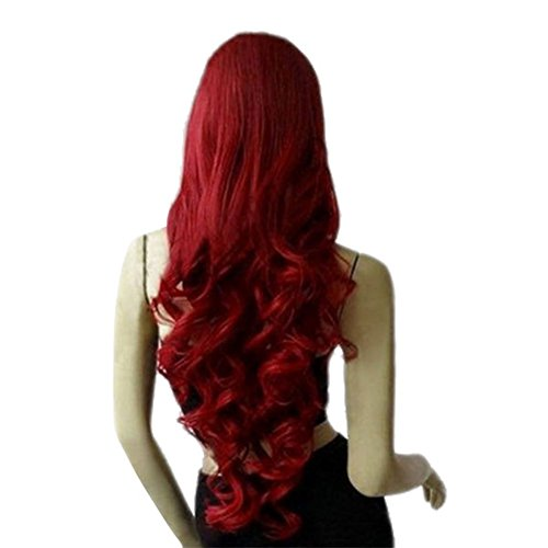 [SQDeal 80cm Dark Wine Red Long Big Wave Mix Full Volume Curly Wavy Cosplay Wig] (Long Red Wigs)