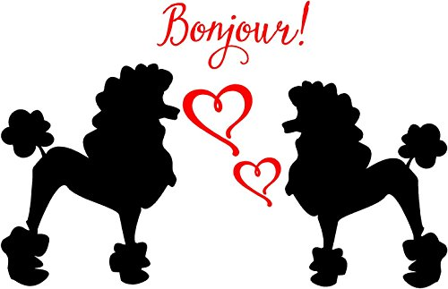 Poodles with Hearts and Bonjour Vinyl Wall Decal Sticker French Dogs (Black and Dark Pink, Small 20