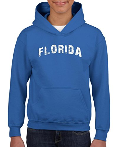 Xekia Florida Distress FL Home of Miami Hoodie For Girls and Boys Youth Kids Medium Royal Blue -