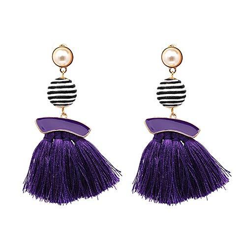 Wrapped Ball Fringe Tassel Drop Earrings for Women Gold Pearl Enamel Earrings Fashion Threaded Tassel Earrings ()
