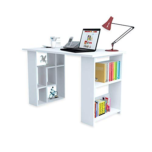 (Decorotika Jazz Wood Computer Desk for Small Study, Dormitory Rooms and Office- Space Saving Design for Storage and Organizer)