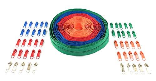Nuburi - Zipper by The Yard - 10 Yards of Make Your Own Zipper - with Zipper Pulls (Red, Blue, Green, Orange)