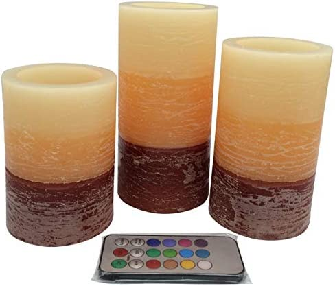 Adoria Flameless Led Candle Set of 3 Battery Pillar Candle-Tri-Layer Orange-Brown Wax Rustic Lime Scented Light, Tall4 5 6inch