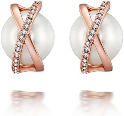 Caperci Rose Gold Plated Cubic Zirconia and Pearl Criss Cross Stud Earrings for Women